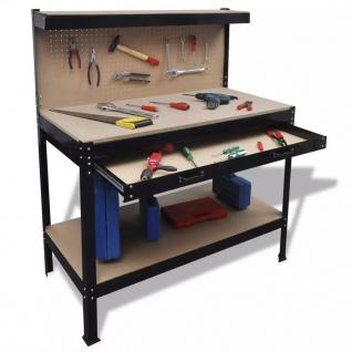 Werkbank mit Lochwand und Schublade
