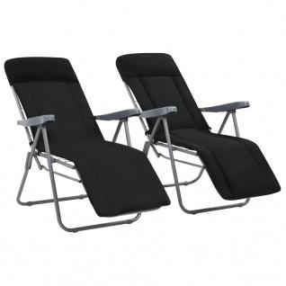 vidaXL Klappbare Gartenstühle mit Polstern 2 Stk. Schwarz - Vorschau 1