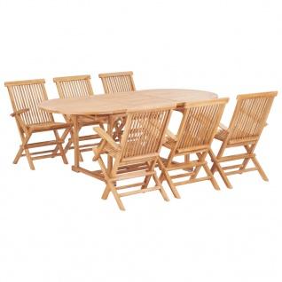 vidaXL 7-tlg. Garten-Essgruppe 150-200 x 100 x 75 cm Massivholz Teak