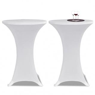 2 x Tischhusse für Stehtisch Stretchhusse Ø80 cm weiß