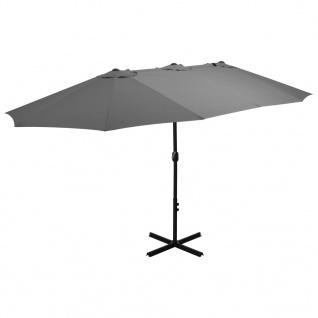 vidaXL Sonnenschirm mit Aluminium-Mast 460 x 270 cm Anthrazit