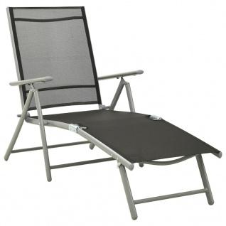 vidaXL Klappbare Sonnenliege Textilene und Aluminium Schwarz Silbern
