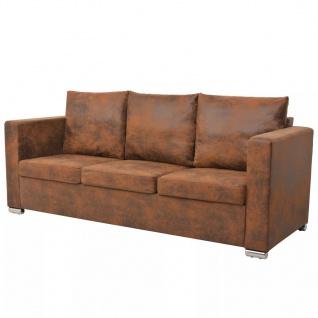 vidaXL 3-Sitzer Sofa 191 x 73 x 82 cm Künstliches Wildleder