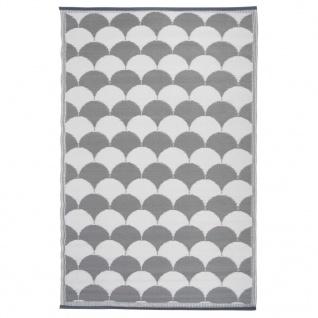 Esschert Design Außenteppich Grafiken 180 x 121 cm Grau und Weiß OC24
