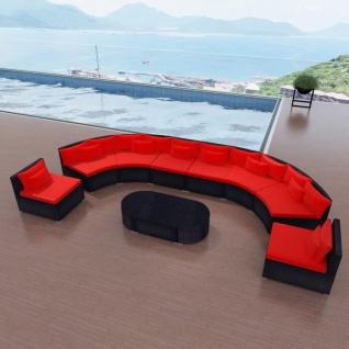 vidaXL 11-tlg. Garten-Lounge-Set mit Auflagen Poly Rattan Rot