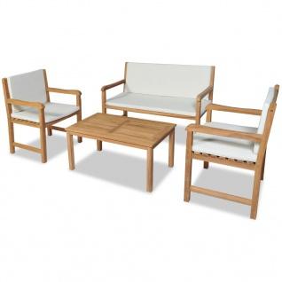 vidaXL 4-tlg. Garten-Lounge-Set mit Auflagen Massivholz Teak
