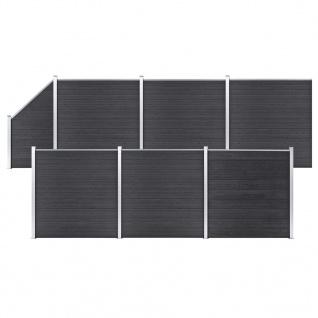 vidaXL WPC Zaun-Set 6 Quadrate + 1 Schräge 1138x186 cm Grau