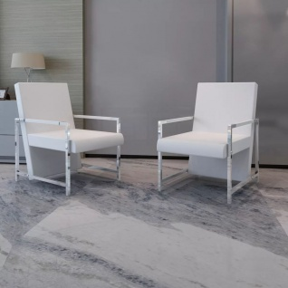 vidaXL Sessel 2 Stk. Verchromtes Gestell Weiß Kunstleder - Vorschau 1