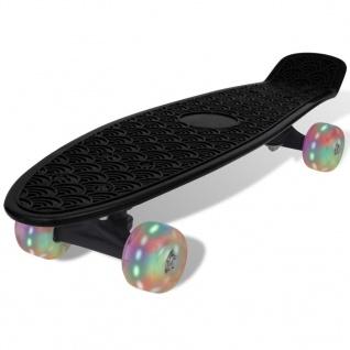 Skateboard, Schwarz Retro mit LED Rollen