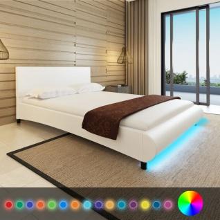 vidaXL Bett mit LED und Matratze 140×200 cm Kunstleder Weiß