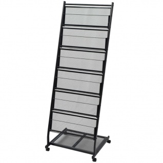 vidaXL Zeitschriftenständer 47, 5×43×133 cm Schwarz A4