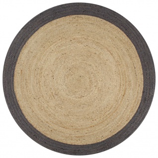 vidaXL Teppich Handgefertigt Jute mit Dunkelgrauem Rand 150 cm