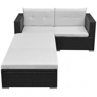 vidaXL 3-tlg. Garten-Lounge-Set mit Auflagen Poly Rattan Schwarz - Vorschau 2