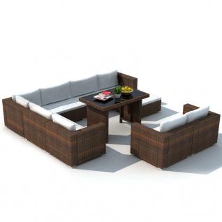 vidaXL 10-tlg. Garten-Lounge-Set mit Auflagen Poly Rattan Braun - Vorschau 3