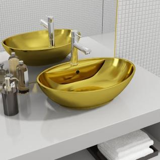 vidaXL Waschbecken mit Überlauf 58, 5 x 39 x 21 cm Keramik Golden