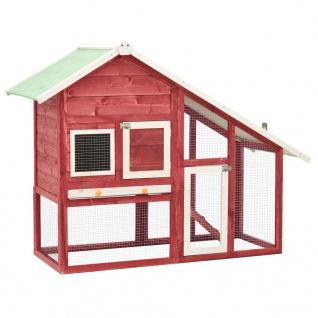 vidaXL Kaninchenstall Rot und Weiß 140x63x120 cm Tanne Massivholz
