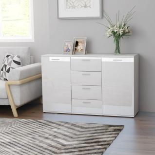 vidaXL Sideboard Hochglanz-Weiß 120×35, 5×75 cm Spanplatte