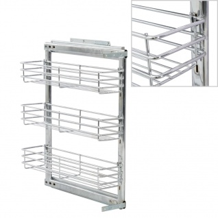 vidaXL 3-stufiger Ausziehbarer Küchen-Drahtkorb Silbern 47x11x56 cm