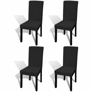 vidaXL Gerader Stretch Stuhlbezug 4 Stück Schwarz