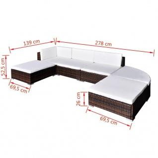 vidaXL 6-tlg. Garten-Lounge-Set mit Auflagen Poly Rattan Braun - Vorschau 5