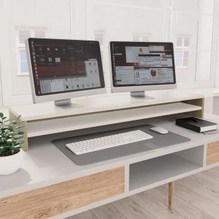 vidaXL Monitorständer Weiß und Sonoma-Eiche 100×24×13 cm Spanplatte