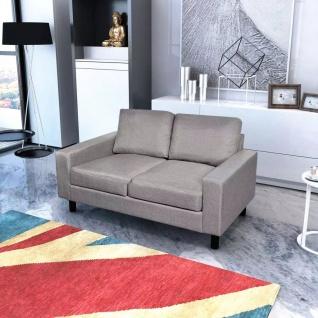 vidaXL Sofa 2-Sitzer Stoff Hellgrau