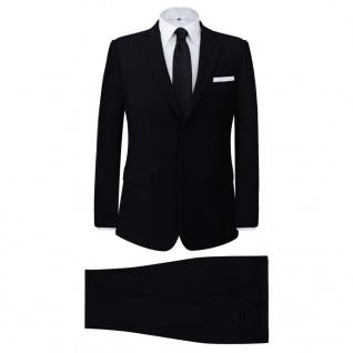 vidaXL 2-tlg. Business-Anzug für Herren Schwarz Gr. 52