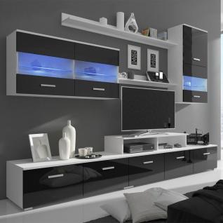 7-tlg. Hochglanz Wohnwand LED Schrankwand TV-Schrank schwarz 250 cm