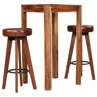 vidaXL Bar-Set 3-tlg. Sheesham-Holz Massiv Echtleder