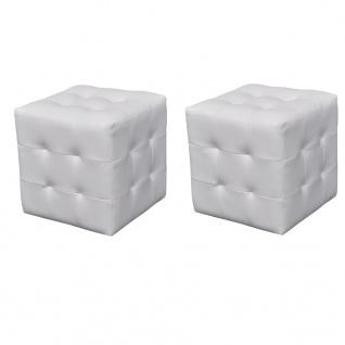 Nachttisch Sitzhocker 2er Set 30x30x30 cm weiß