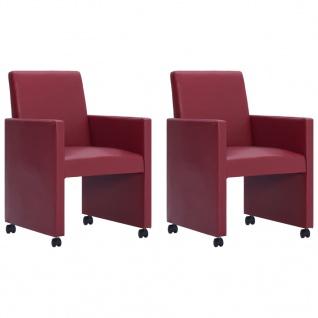 vidaXL Esszimmerstühle 2 Stk. Weinrot Kunstleder