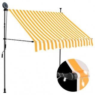 vidaXL Einziehbare Markise Handbetrieben mit LED 200 cm Weiß Orange