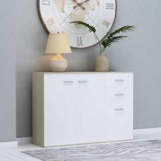 vidaXL Sideboard Weiß Sonoma-Eiche 105 x 30 x 75 cm Spanplatte - Vorschau 1