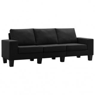 vidaXL 3-Sitzer-Sofa Schwarz Stoff - Vorschau 2