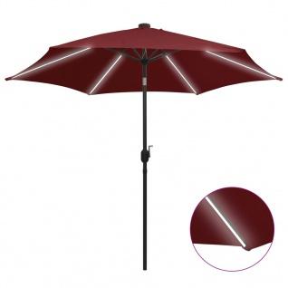 vidaXL Sonnenschirm mit LED-Leuchten Aluminium-Mast 300 cm Bordeauxrot