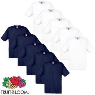 Fruit of the Loom Original T-Shirt 10 Stk 100% Baumwolle Weiß/Navy