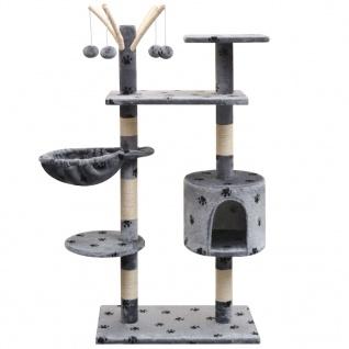 vidaXL Katzen-Kratzbaum 125 cm Grau mit Pfoten-Aufdruck