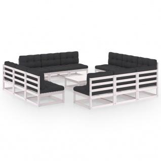 vidaXL 13-tlg. Garten-Lounge-Set mit Kissen Kiefer Massivholz