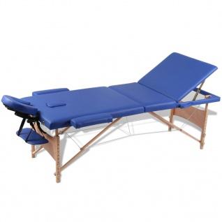 Massagetisch mit Holzrahmen, faltbar 3 Zonen Blau
