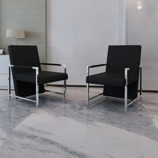 vidaXL Sessel 2 Stk. Verchromtes Gestell Schwarz Kunstleder