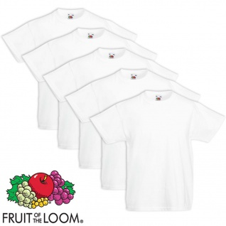 5xFruit of the Loom Original Kinder-T-Shirt 100% Baumwolle Weiß Gr.116
