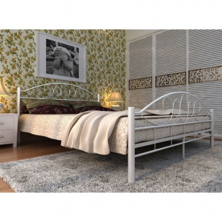 vidaXL Bett mit Memory-Schaum-Matratze Weiß Metall 140×200 cm