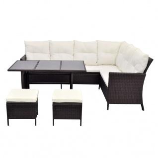vidaXL 4-tlg. Garten-Lounge-Set mit Auflagen Poly Rattan Braun - Vorschau 4