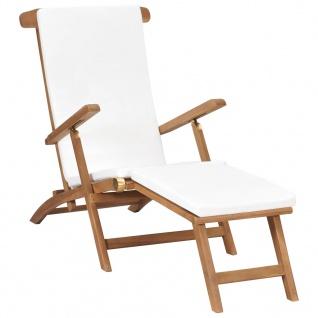 vidaXL Liegestuhl mit Auflage Cremeweiß Massivholz Teak