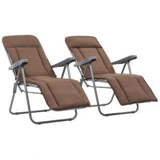 vidaXL Klappbare Gartenstühle mit Auflagen 2 Stk. Braun