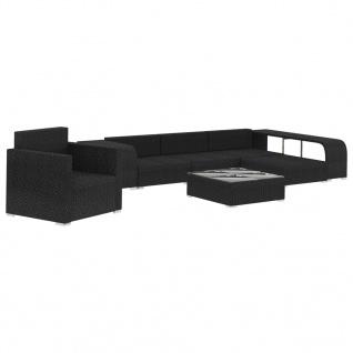 vidaXL 8-tlg. Garten-Lounge-Set mit Auflagen Poly Rattan Schwarz - Vorschau 3
