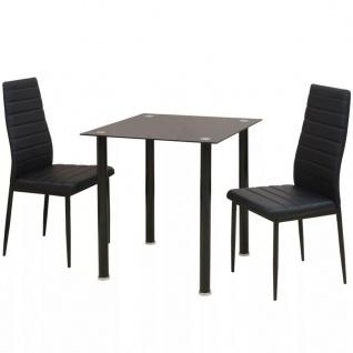 vidaXL 3-tlg. Essgruppe Esstisch mit Stühlen Schwarz