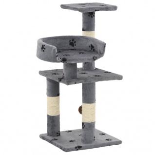 vidaXL Katzen-Kratzbaum mit Sisal-Säulen 65 cm Pfoten-Aufdruck Grau