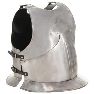 vidaXL Mittelalterlicher Ritter-Brustpanzer Kürass LARP Replik Silbern Stahl