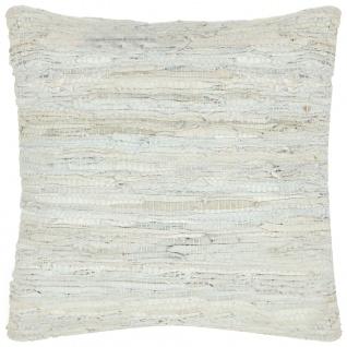 vidaXL Kissen Chindi Hellgrau 60 x 60 cm Leder und Baumwolle
